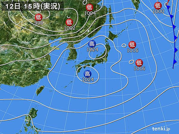 実況天気図(2018年03月12日)