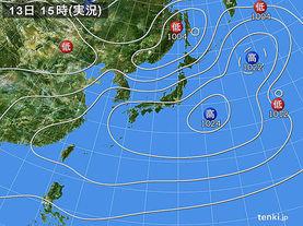 実況天気図(2018年03月13日)