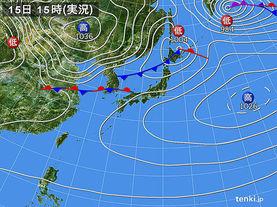 実況天気図(2018年03月15日)