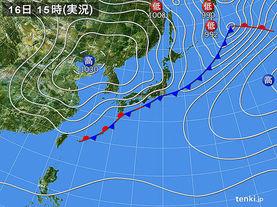実況天気図(2018年03月16日)