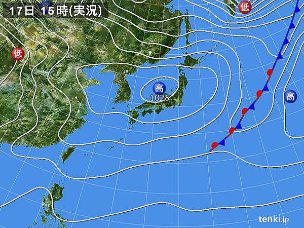 実況天気図(2018年03月17日)