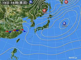 実況天気図(2018年03月18日)