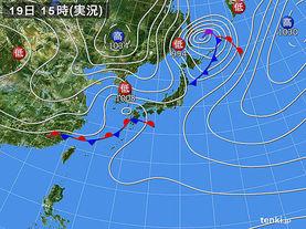実況天気図(2018年03月19日)