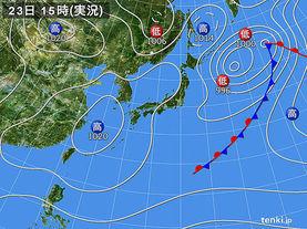 実況天気図(2018年03月23日)