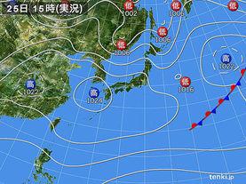 実況天気図(2018年03月25日)