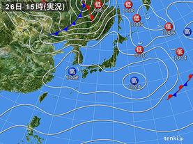 実況天気図(2018年03月26日)