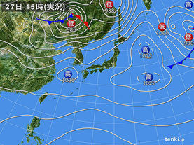 実況天気図(2018年03月27日)