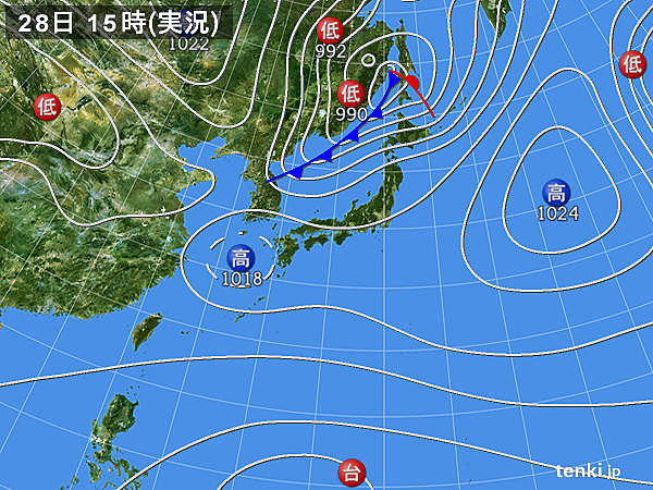 実況天気図(2018年03月28日)