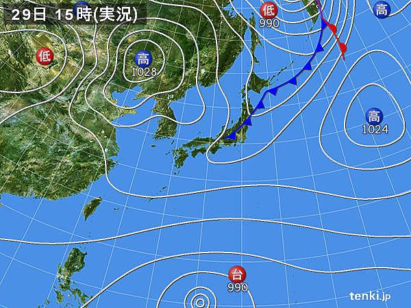 実況天気図(2018年03月29日)