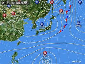 実況天気図(2018年03月30日)