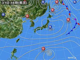 実況天気図(2018年03月31日)