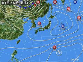 実況天気図(2018年04月01日)