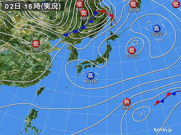 実況天気図(2018年04月02日)