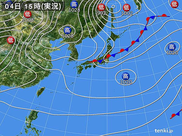 実況天気図(2018年04月04日)