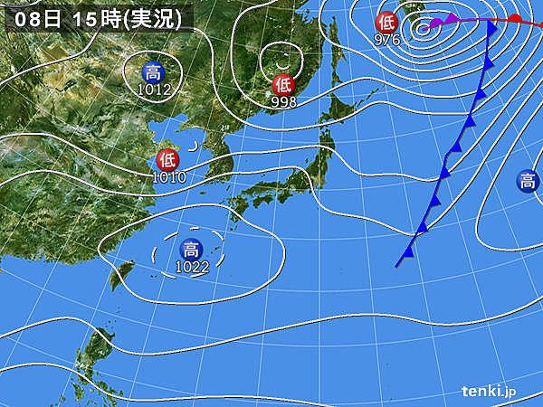 実況天気図(2018年04月08日)