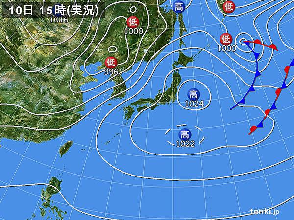 実況天気図(2018年04月10日)