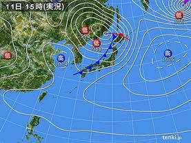 実況天気図(2018年04月11日)