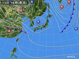 実況天気図(2018年04月13日)