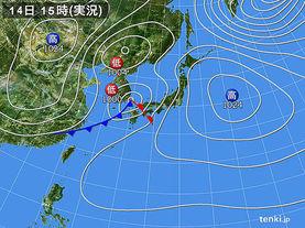 実況天気図(2018年04月14日)