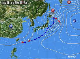 実況天気図(2018年04月15日)