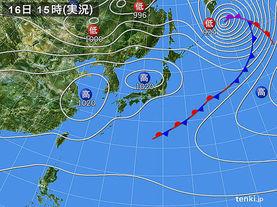 実況天気図(2018年04月16日)