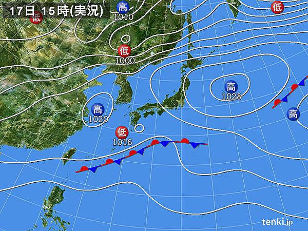 実況天気図(2018年04月17日)