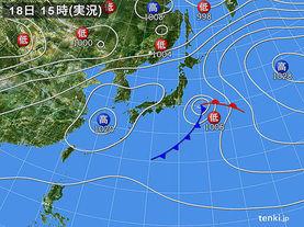 実況天気図(2018年04月18日)