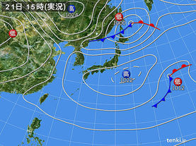 実況天気図(2018年04月21日)