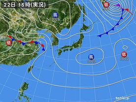 実況天気図(2018年04月22日)