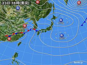 実況天気図(2018年04月23日)