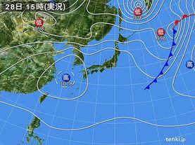 実況天気図(2018年04月28日)