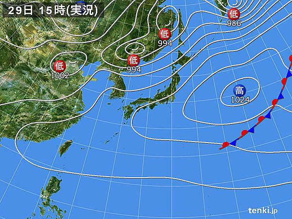 実況天気図(2018年04月29日)