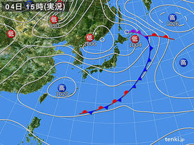 実況天気図(2018年05月04日)