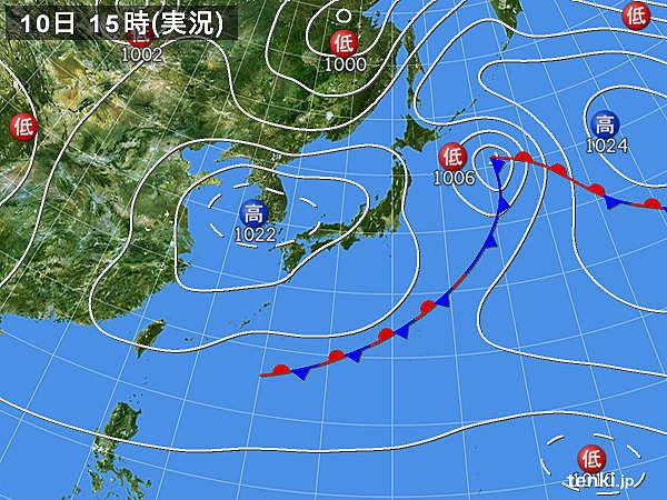 実況天気図(2018年05月10日)