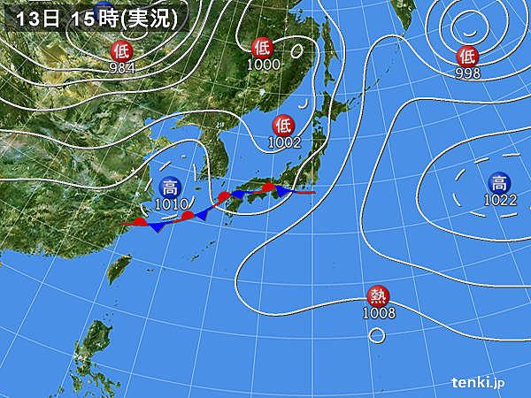 実況天気図(2018年05月13日)
