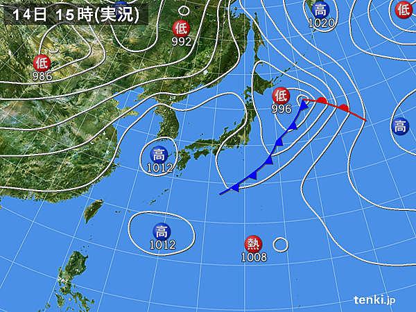 実況天気図(2018年05月14日)