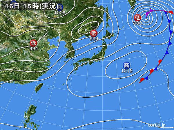 実況天気図(2018年05月16日)