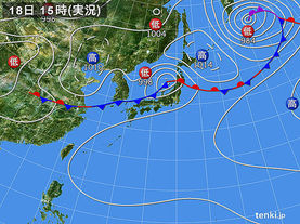 実況天気図(2018年05月18日)