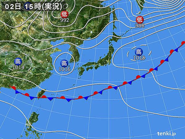 実況天気図(2018年06月02日)