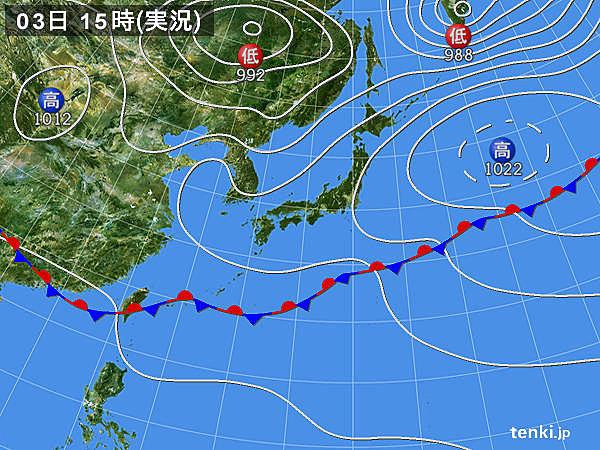 実況天気図(2018年06月03日)