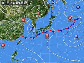 実況天気図(2018年06月06日)