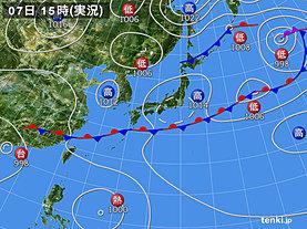 実況天気図(2018年06月07日)