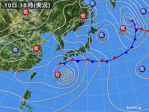 実況天気図(2018年06月10日)