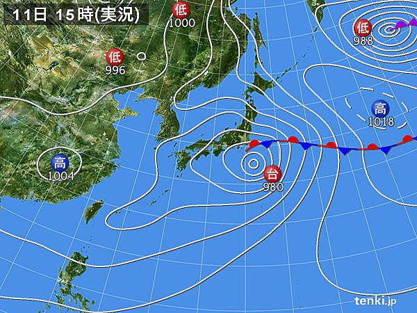 実況天気図(2018年06月11日)