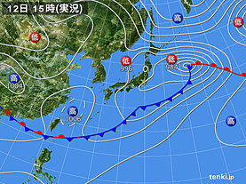 実況天気図(2018年06月12日)