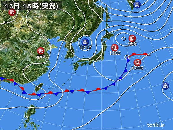実況天気図(2018年06月13日)