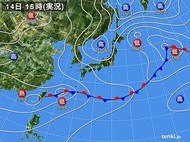 実況天気図(2018年06月14日)
