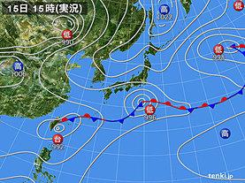 実況天気図(2018年06月15日)