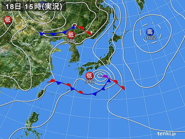 実況天気図(2018年06月18日)