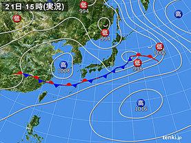 実況天気図(2018年06月21日)